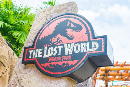 SINGAPORE - JULY 20: Jurassic Park theme in Universal Studios Singapore at Singapore Resorts World Sentosa on JULY 20, 2015. Redakční