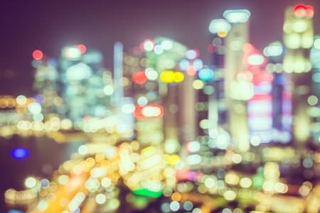 singapore skyline: Abstract blur Singapore skyline city - vintage filter effect