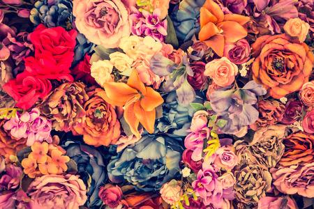 年代物: 美しいヴィンテージ花背景 - ビンテージ フィルター効果