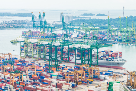 sea port: Singapore shipping port container cargo Editorial