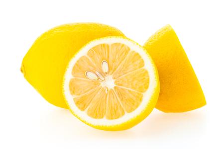 Yellow Lemon fruit isolated on white background Standard-Bild