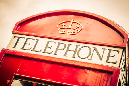red telephone: Red telephone box london style - vintage filter