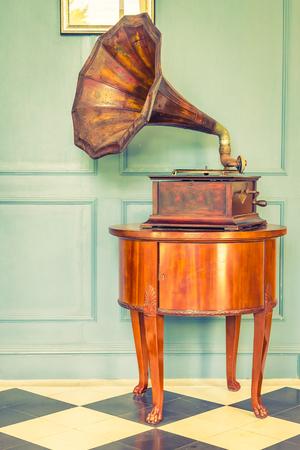 gramaphone: Vintage Gramaphone music box - vintage filter effect Stock Photo
