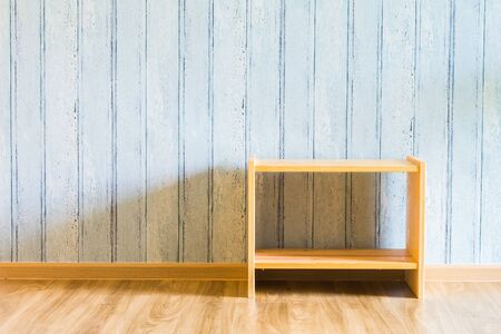 wood room: Wood table decoration in empty room with copy space