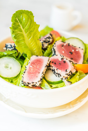 ahi: Grilled tuna salad in white bowl