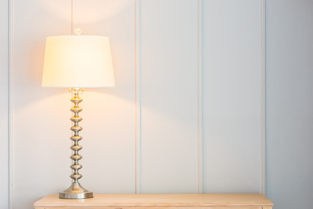 lamp shade: Vintage light lamp on table with copy space