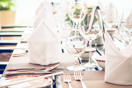 restaurant dining: Table dining set in the hotel restaurant - Selective focus point
