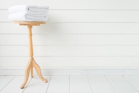 laundry room: Towel bath on wood table