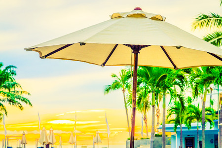 sharm: Umbrella in the luxury hotel pool resort at sunrise times - Vintage filter processing style pictures