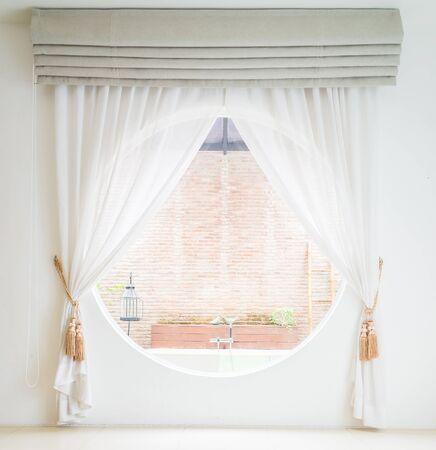 white window: Curtain window decoration interior room Stock Photo