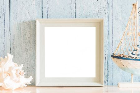 summer sign: Vintage wood Blank photo frame with summer concept design Stock Photo