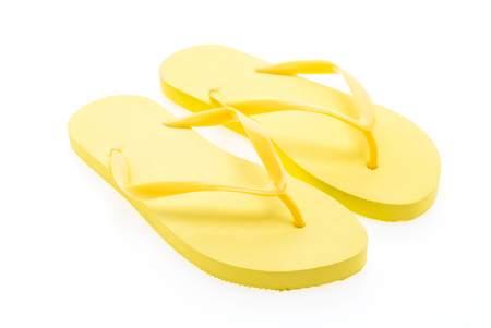 flip flops: Yellow flip flops isolated on white background Stock Photo