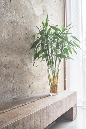asian house plants: Vase plant decoration with empty room - vintage haze filter
