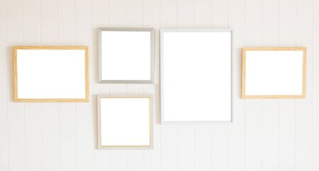 blank photo: Blank photo frame on white wood wall background