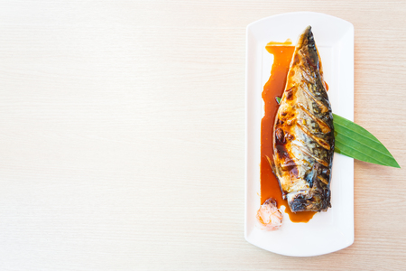 saba: Grilled saba fish with sweet sauce on top Stock Photo