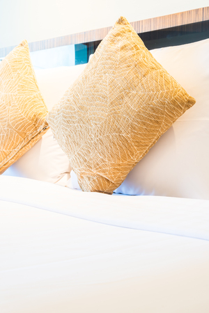 luxury bedroom: Pillow bed in luxury hotel bedroom Stock Photo