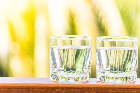 glas water: Glass water - Sunflare filter processing Stockfoto