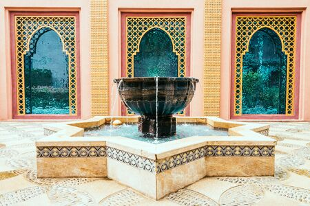 architecture: Architecture Fountain Decoration morocco style - vintage filter effect