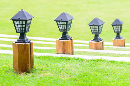 lamp light: Light lamp with garden outdoor view Stock Photo