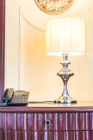 bedside lamps: Light lamp on bedside table decoration bedroom interior