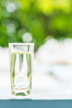 lemon water: Drinking Water glass Stock Photo