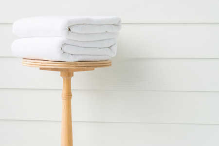 white towels: Towel bath on wood table