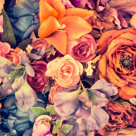 flowers field: Beautiful Vintage flower background - vintage filter effect Stock Photo