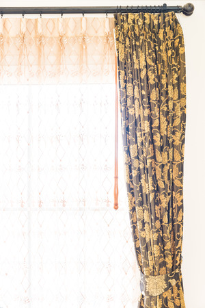 window curtain: Window curtain decoration in bedroom interior