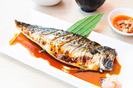 grill: Grilled saba fish with sweet sauce on top Stock Photo