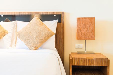 bed room: Pillow bed in luxury hotel bedroom Stock Photo