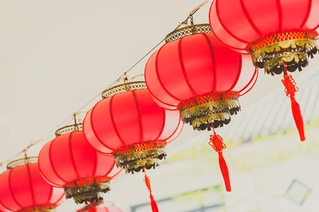 chinese new year decoration: Chinese lantern style - vintage filter