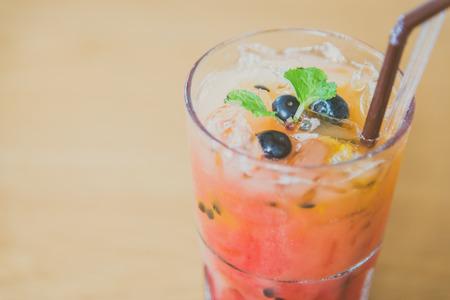 mix fruit: Mix fruit moctails drink - vintage filter