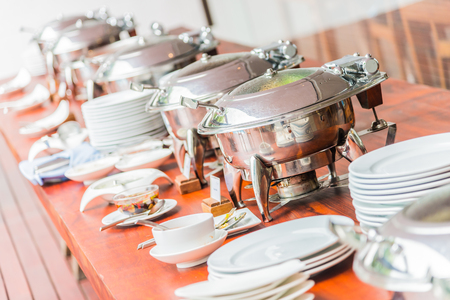 Selective focus point on catering buffet food in luxury hotel resort