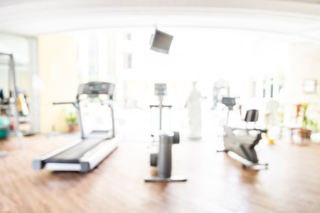 Abstract blur fitness gym room interior background Stock Photo