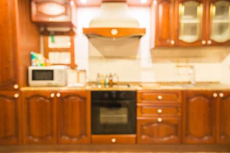 Abstract blur kitchen interior background