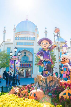 october 31: SOUTH KOREA - October 31: The Architecture and unidentified tourists are walking in Everland Resort, Yongin City, South Korea, on October 31, 2015 Editorial