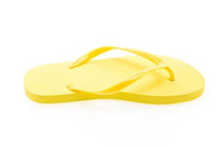 flip flops: Yellow flip flops isolated on white background Stock Photo