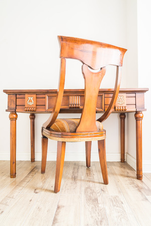 designer chair: Classic wooden table and chair for working