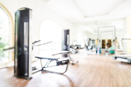 gym room: Abstract blur fitness gym room interior background Stock Photo