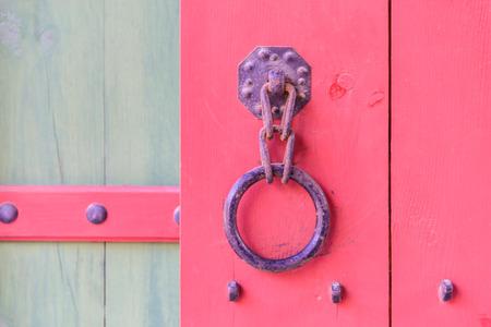 old metal: Old metal handle door - Korea style Stock Photo