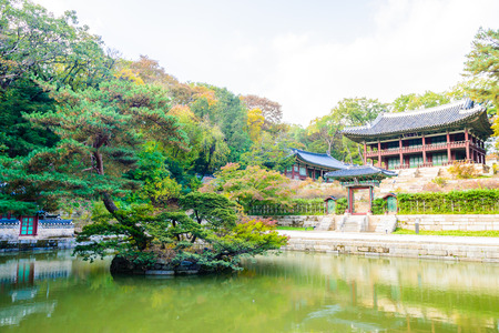green building: Beautiful and Old Architecture in Changdeokgung Palace in Seoul City at Korea