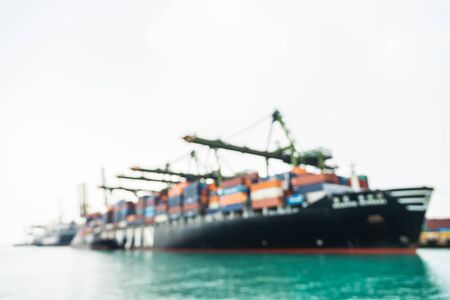 ship: Abstract blur shipping boat cargo at singapore background