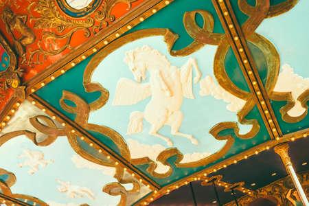 chain swing ride: Amusement park ride - vintage filter effect Stock Photo
