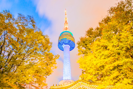 Seoul tower in seoul city Korea at Twilight time - Long shutter speed and blow winding on tree