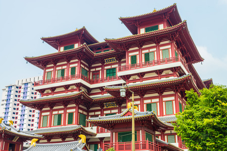relics: Beautiful Buddha tooth temple in china town area at singapore Editorial