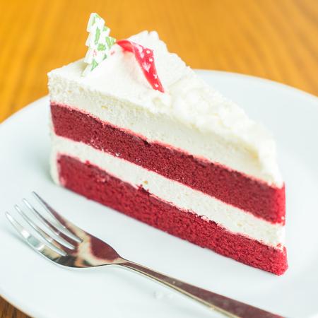 cream on cake: Red velvet cream cake - Selective focus point