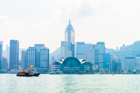hong kong: Hong Kong - October 18, 2015: Hong Kong skyline on October 18 in China, Hong Kong.