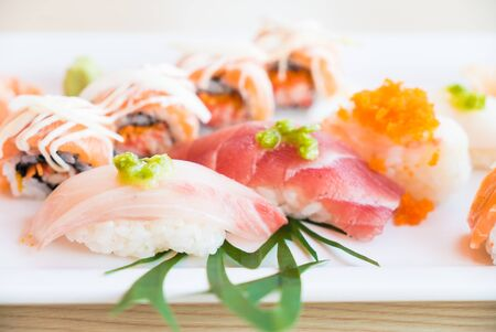 raw food: Selective focus point on sushi - Japanese food style and HDR Processing Stock Photo