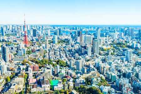 japan sky: Architecture buildings cityscape in Tokyo  skyline at Japan Editorial