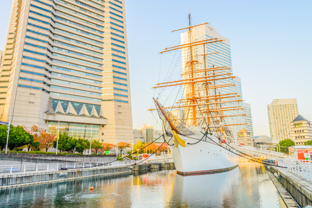maru: YOKOHAMA, JAPAN - November 24 : Nippon Maru Boat in Yokohama, Japan on November 24, 2015. Nippon Maru Boat was a training ship for the cadets of the Japanese merchant marine. Boat was built in 1930.